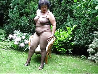 Chubby mature in bodystocking